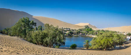 Panoramic view of Huacachina Oasis - Ica, Peru