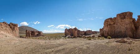 Panoramic view of Rock formations in Bolivean altiplano - Potosi Department, Bolivia