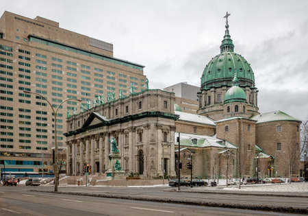 Mary Queen of the World Cathedral on snow - Montreal, Quebec, Canada