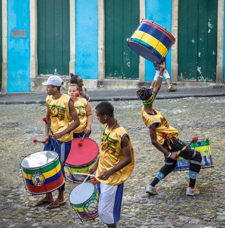 Brazilian drumming group on the streets of Pelourinho - Salvador, Bahia, Brazil Editorial