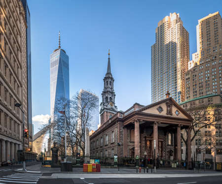 St. Pauls Chapel and One World Trade Center at Lower Manhattan - New York City, USA Editorial