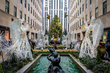 Rockefeller Center Christmas Decoration with angels and Tree - New York City, USA