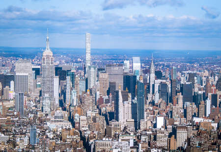 Skyline aerial view of Manhattan with skyscrapers - New York, USA