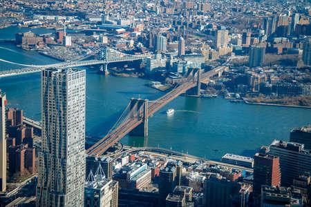 Aerial view of Brooklyn Bridge and Manhattan Bridge - New York City, USA