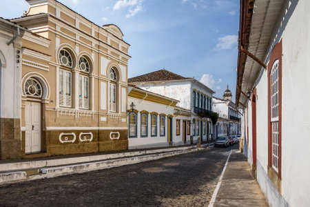 Street view of Sao Joao del Rei colonial buildings - Sao Joao Del Rei, Minas Gerais, Brazil Stock Photo