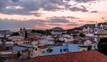 Aerial view of Sao Joao del Rei at sunset - Sao Joao del Rei, Minas Gerais, Brazil Editorial