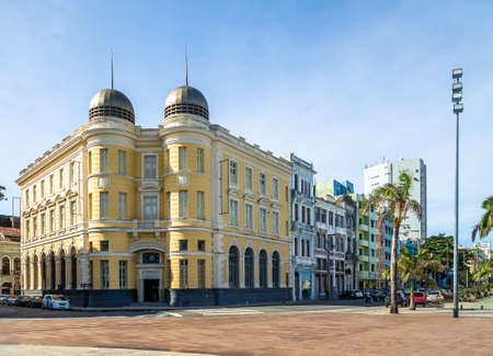 Old Building in Marco Zero Square at Ancient Recife district - Recife, Pernambuco, Brazil Imagens