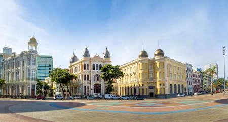 Vista panoramica di Piazza Marco Zero nel quartiere di antica Recife - Recife, Pernambuco, Brasile Archivio Fotografico - 77524000