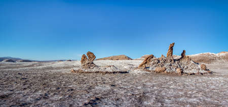 rock formation: Las Tres Marias (Three Marys) formation at Las Salinas area of the Moon Valley - Atacama Desert, Chile Stock Photo