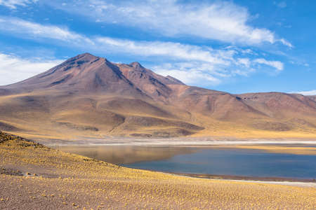 chilean: Miniques Lagoon and Volcano - Atacama Desert, Chile Stock Photo