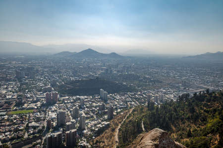 Aerial view of Santiago de Chile from San Cristobal Hill - Santiago, Chile
