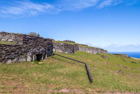 rapanui: Brick houses at the ruins of Orongo Village at Rano Kau Volcano - Easter Island, Chile