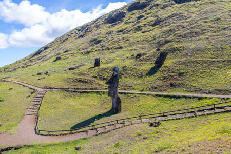 Moai Statues of Rano Raraku Volcano Quarry - Easter Island, Chile