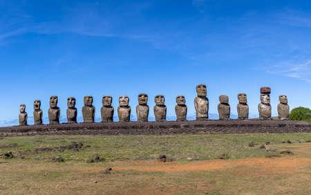 rapanui: Moai Statues of Ahu Tongariki - Easter Island, Chile