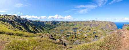 Panoramic view of Rano Kau Volcano Crater - Easter Island, Chile Stock Photo