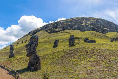 rano raraku: Moai Statues of Rano Raraku Volcano Quarry - Easter Island, Chile