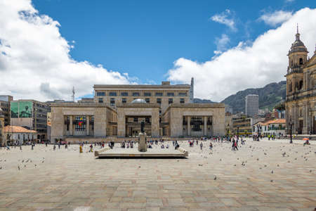 BOGOTA, COLOMBIA - Jun 24, 2016: Bolivar Square and Colombian Palace of Justice - Bogota, Colombia