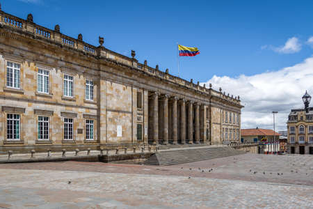 Colombian National Capitol and Congress situated at Bolivar Square - Bogota, Colombia 報道画像