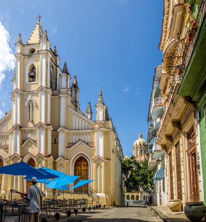 Santo Angel Custodio Church with Revolution museum Dome on background - Havana, Cuba