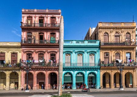 Colorful buildings in old Havana downtown Street - Havana, Cuba Editorial