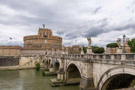 Castel SantAngelo (Saint Angel Castle) and bridge over Tiber River - Rome, Italy