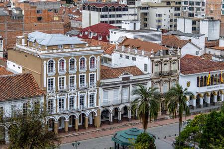 governement: Aerial view of buildings near Park Calderon - Cuenca, Ecuador Stock Photo
