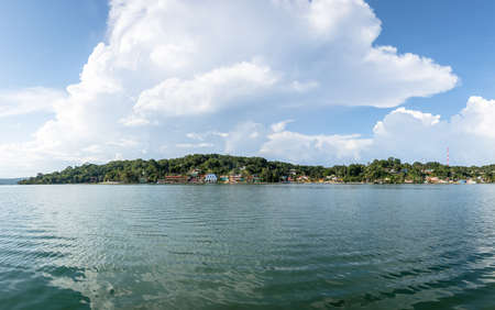 Panoramic view of Flores City and Lake - Flores, Peten, Guatemala Stock Photo