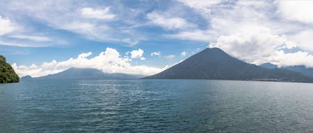 Panoramic view of Lake Atitlan and San Pedro Volcano - San Marcos La Laguna, Lake Atitlan, Guatemala Imagens