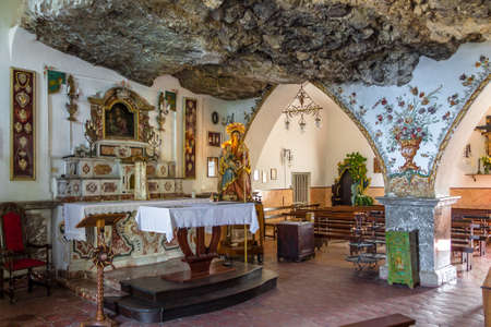Interior of Madonna della Rocca Sanctuary - Taormina, Sicily, Italy