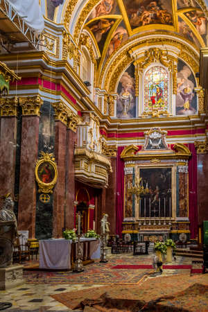 Interior of St. Pauls Cathedral - Mdina, Malta Editorial