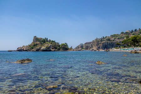 View of Isola Bella island and beach - Taormina, Sicily, Italy