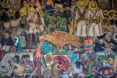 벽화의 세부 사항 국립 궁전 - 멕시코 시티, 멕시코의 계단에서 디에고 리베라에 의한 멕시코의 역사 스톡 콘텐츠 - 80457063