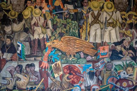 -メキシコシティの国立宮殿の階段でディエゴ ・ リベラによるメキシコの歴史の壁画の詳細