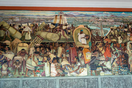 The corridor of National Palace with the famous mural The Grand Tenochtitlan by Diego Rivera - Mexico City, Mexico 에디토리얼