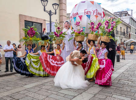 Typical Regional Mexican Wedding Parade know the Calenda de Bodas - Oaxaca, Mexico Editorial