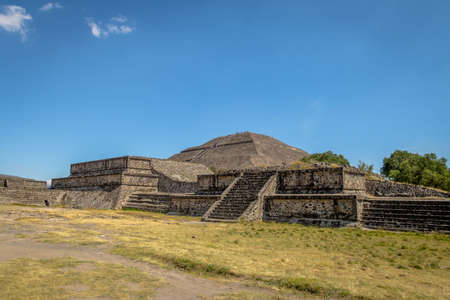 archaeological: The Sun Pyramid at Teotihuacan Ruins - Mexico City, Mexico