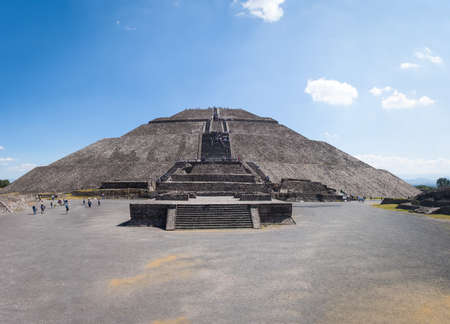 Frontal view of The Sun Pyramid at Teotihuacan Ruins - Mexico City, Mexico 写真素材