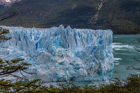 los glaciares: Close view of Perito Moreno Glacier at Los Glaciares National Park in Patagonia - El Calafate, Santa Cruz, Argentina Stock Photo