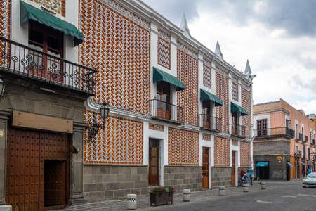 Street of Puebla and Federal Palace (Palacio Federal) Building - Puebla, Mexico Stock Photo