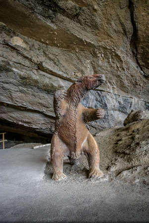 replica: Milodon (pre-historic giant sloth) Model at entrance of Milodon Cave (Cueva de Milodon) - Patagonia, Chile