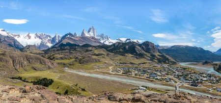 Panoramic aerial view of El Chalten village and Mount Fitz Roy in Patagonia - El Chalten, Argentina