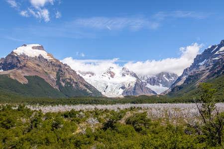 cerro fitzroy: Cerro Torre covered in clouds in Patagonia - El Chalten, Argentina Stock Photo