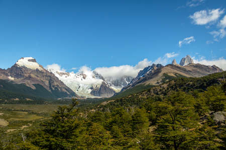 Cerro Torre covered in clouds in Patagonia - El Chalten, Argentina Stock Photo