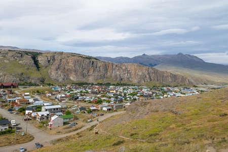 cerro fitzroy: El Chalten village aerial view in Patagonia - El Chalten, Argentina