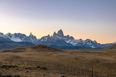 Mount Fitz Roy in Patagonia at sunset - El Chalten, Argentina Stock Photo
