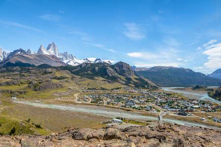 El Chalten village aerial view and Mount Fitz Roy in Patagonia - El Chalten, Argentina