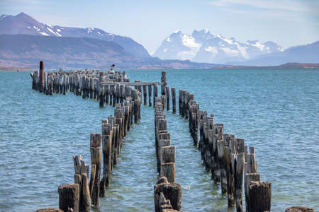 chilean: Old Dock in Almirante Montt Gulf in Patagonia - Puerto Natales, Magallanes Region, Chile Stock Photo