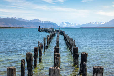 Old Dock in Almirante Montt Gulf in Patagonia - Puerto Natales, Magallanes Region, Chile Stock Photo