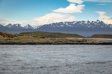 Island and mountains view in Beagle Channel - Ushuaia, Tierra del Fuego, Argentina Stock Photo