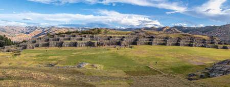 Panoramic view of Saqsaywaman or Sacsayhuaman Inca Ruins - Cusco, Peru